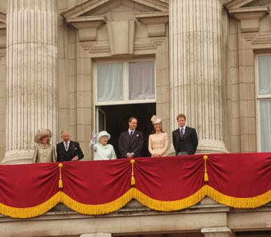 The Queen, The Prince of Wales, The Duchess of Cornwall, The Duke and Duchess of Cambridge and Prince Harry on the balcony of Buckingham Palace on the final day of the weekend of celebrations marking HM's Diamond Jubilee, London, 5 June 2012. © Buckingham Palace Press Office