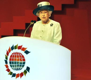 The Queen makes a speech to open the 2011 Commonwealth Heads of Government Meeting in Perth, Western Australia in October 2011.